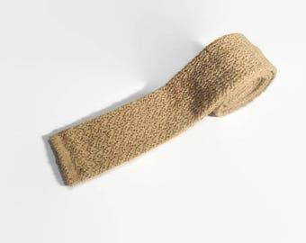 Vintage Square End Knit Tie / Wool Knit Tie / Flat End Tie / Slim Tie