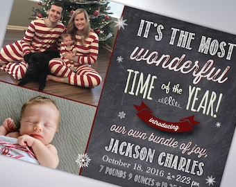 BABY ANNOUNCEMENT CHRISTMAS Cards and Envelopes | Postcard Option Available | Happy Holidays | Merry Christmas | Happy New Year