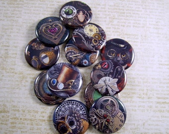 "Steampunk Magnets, Steampunk Pins, Steampunk FB Buttons, Steampunk Cabochons, 1"" Flat, Hollow BK, 12 ct, Fridge Magnets"