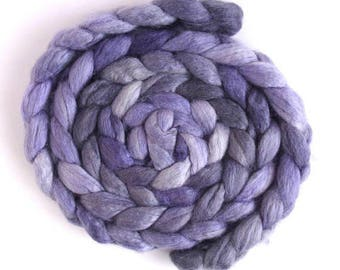 Lavender, BFL/Silk Roving - Handpainted Spinning or Felting Fiber