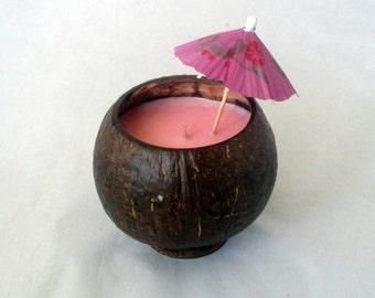 Coconut bowl, coconut candle, coconut shell, soy candle, candle centerpiece, hawaiian party, tropical candle, choose scent, luau party
