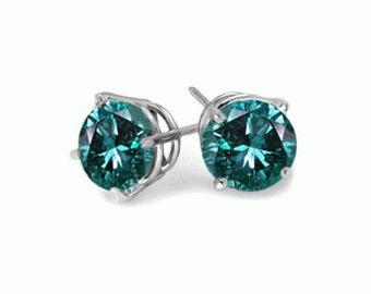 stud earrings sterling silver blue diamonds