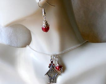 """Bird House Necklace & Red Glass Bead Earring Set-19"""" 2""""Ext. SP Snake Chain-Ready to Ship Free US Domestic"""