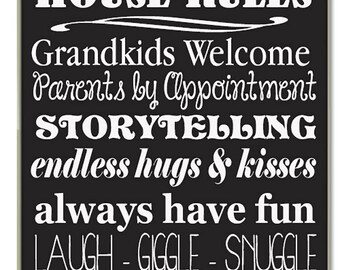 Nonno and Nonna's House Rules for Grandchildren with love Grandparents  Handpainted Wood Sign 16 x 10.5
