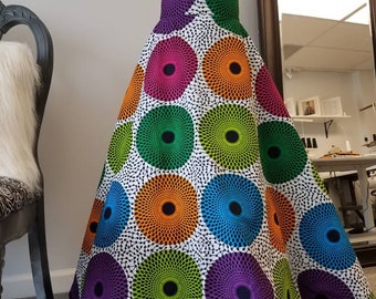 African Ankara Print Maxi High Waisted Circle Skirt