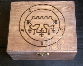 Sigil of Belial Box (Pyrography) You Pick the Color, Free US Shipping