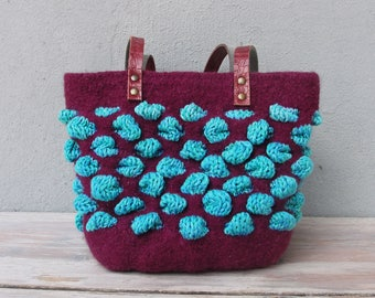 Knitted Felted Wool Bag, Bubble Bag, Purple, Teal, Purse with Leather Straps