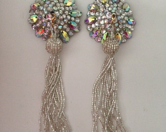 Silver and crystal AB pasties on silver base with tassel