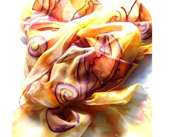 Scarf hand painted silk tulip amber floral long luxury fashion silk art gift ideas Autumn  Spring type women
