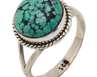 Blue Turquoise Ring, Natural Blue Copper Turquoise, Turquoise Silver Ring, Navajo Ring, Sterling Silver Turquoise Ring,Statement Ring,    11