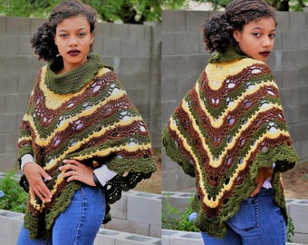 Earth Tones Virus Cowl/ Earth shades Virus Poncho/ Virus Wrap/ High Fashion Poncho/ Earth tones Poncho/ Gift for Her/ Winter Fashion Poncho