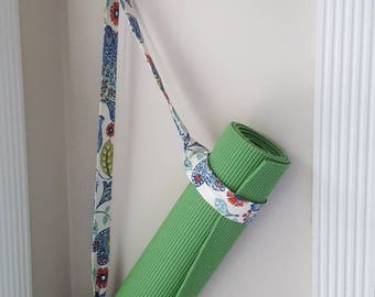 Yoga mat carrier strap; floral cotton