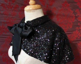 Midnight Capelet - Sparkly Black Sequined Flapper Cape  with Silk Pussy Bow ~ Mardis Gras Costume - To order