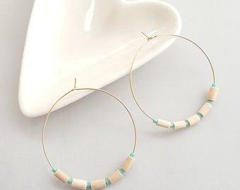 White & Turquoise Bead Earrings, Hoop Earrings,Boho Hoop Earrings,Beaded Hoop Earring,Bead Earrings,Tribal Hoop Earrings,Boho Dangle Earring