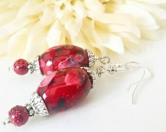 Red Earrings Sterling Silver Dangle Earrings, Mothers Day Gift Ideas Mom Gift, Bohemian Earrings Boho Jewelry Handmade, Best Selling Jewelry