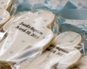 Personalized & Dated Cross Cookies for Baptism, Communion - 40 Decorated Sugar Cookie Favors