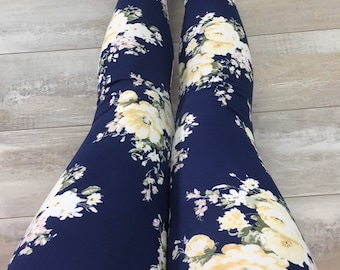 "Leggings for women, ultra comfortable in ""brushed poly"" polyester/spandex yellow flowers on Navy"