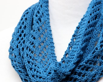 Lightweight blue cowl. Lake blue lace cowl for mom. Silk & wool lace cowl. Spring cowl for mother. Hand knit lace scarf. Little luxury cowl.