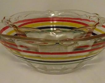 Pair of Striped Bowls (Small and Large) - Mid Century Modern - Vintage -Retro Fun