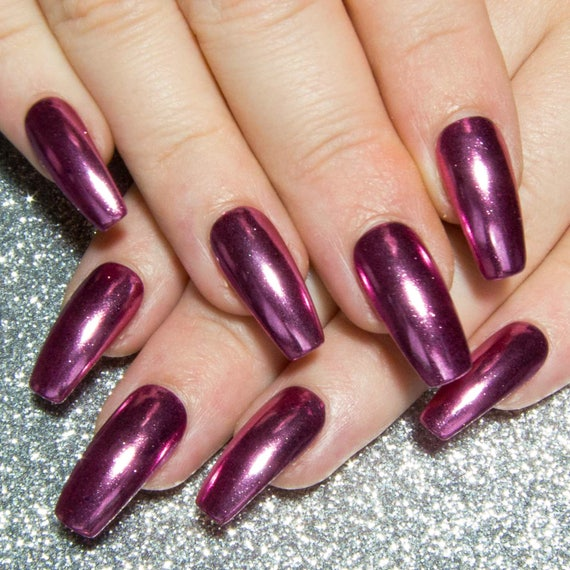 Fake Nails Coffin Chrome Nails Long False Nails Pink