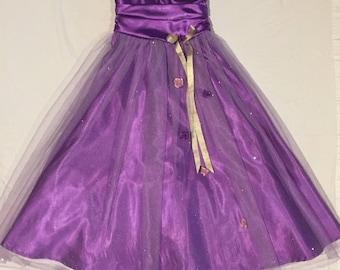 Purple tuille flower girl dress