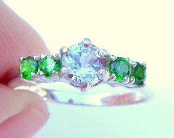 Pale Blue Zircon Ring, 925 Sterling Silver, Chrome Diopside, Edwardian Fantasy, Genuine Gemstone Ring, OOAK