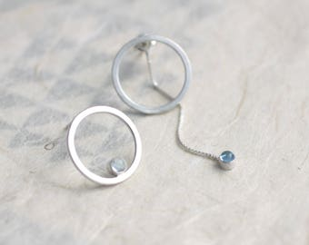 Unbalanced Circle Earrings with Swiss Blue Topaz