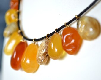 Yellow Cognac Gray Orange Baltic Amber Necklace.Amber Jewellery.Genuine Fossil Amber Stone Jewelery.Organic Amber Necklace.Amber Pendant