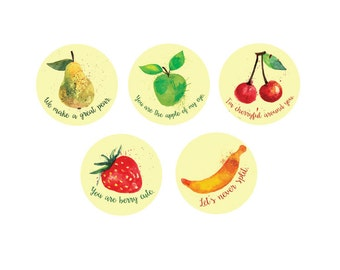 Printable Valentines Labels, DIY Gift Tags, Printable Love Notes, Envelope Seal Stickers, Fruit Pun Stickers, Valentines Gift