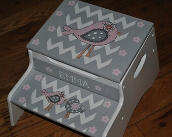 New For 2016-Children's-Custom Hand Painted-New Birdie Pink/Grey Chevron-Girls - Step Stool-Baby Shower-Nursery Furniture-Baby Gift