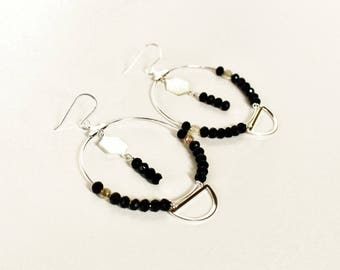 Black Silver hoop earrings geometric stone mineral glass original contemporary jewelry