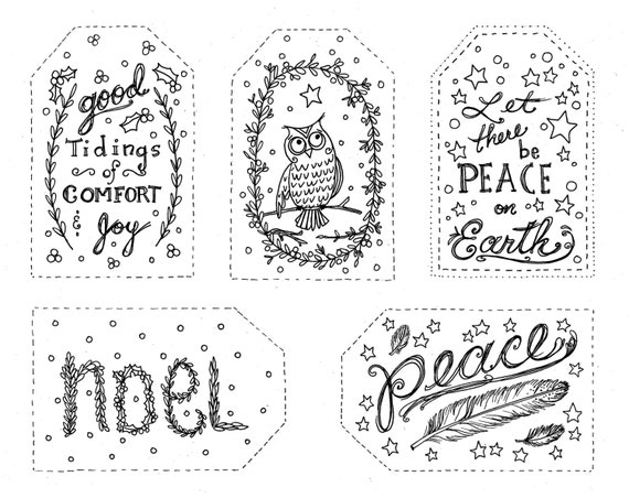 Christmas Gift tags to Color INSTANT DOWNLOAD Holiday Coloring