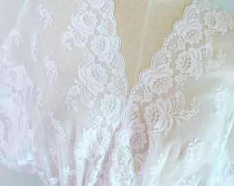 Vintage White Sheer Lace Robe/Duster