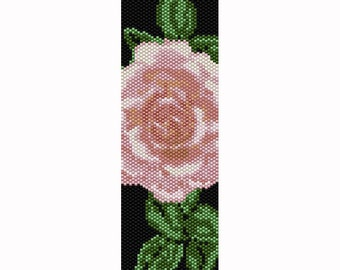 Peyote Rose #3 Bead Pattern, Bracelet Cuff Pattern, Bookmark Pattern, Seed Beading Pattern Delica Size 11 Beads - PDF Instant Download