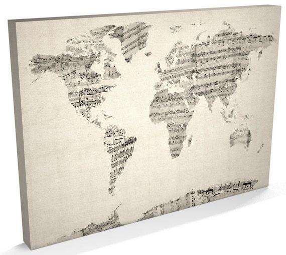 World map sheet music canvas sheet music world map box canvas world map sheet music canvas sheet music world map box canvas art print 895 gumiabroncs Gallery