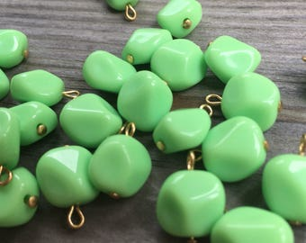 12 pinched circle Summer green shaped vintage lucite bead