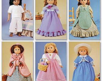 "18"" Doll Clothes Pattern, McCalls 2609- Historical Dresses-Fits American Girl Dolls"