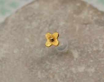 Flower Tragus Stud - Gold Tragus Earring - Tiny Flower Helix - Gold Helix Earring - Bioflex 16g - Cartilage Stud - Helix Stud 16 Gauge