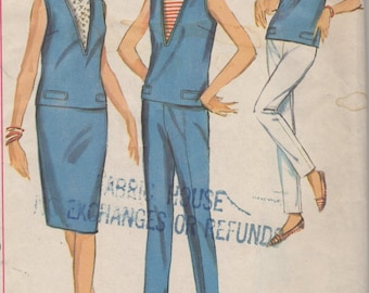 1965 Misses' Top, Skirt and Pants Simplicity 5896 Size 16 Bust 36
