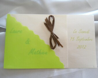 set of 10 invitation wedding white and lime green