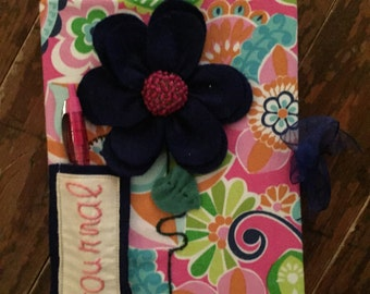 Handmade Journal, Navy, Pink