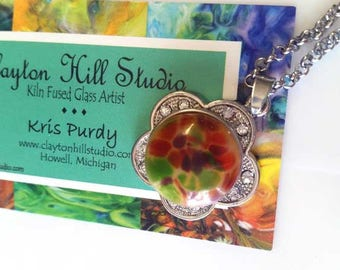 Flower PenDot Necklace - fused glass
