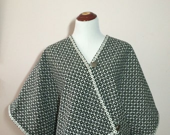 Reversible black and white brocade long cape