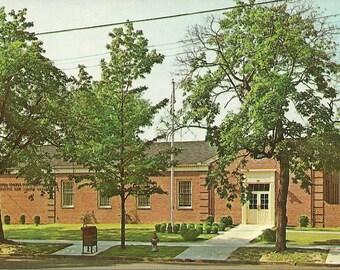 Vintage 1950s Postcard New Jersey Bridgeton USPS Post Office Building Snail Mail Federal Architecture Photochrome Era Postally Unused