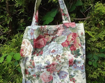 Handmade Floral Tote Shopping Bag Vintage Fabric