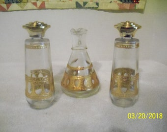 Glass With Gold Trim Salt And Pepper Shakers With Matching Vinaigrette 1960's