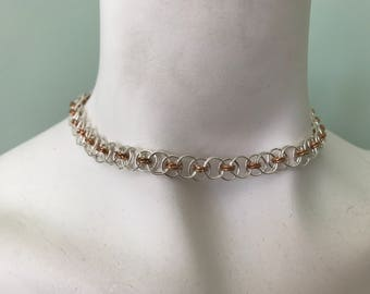 Silver and Rose Gold Chain Maille Choker