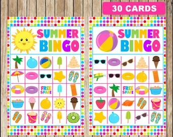 Printable 30 Summer Bingo Cards; printable Summer Bingo Game, Summer Bingo game instant download