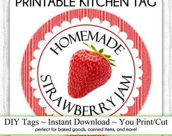 Kitchen Printable Tag, Strawberry Jam Canning Label, Instant Download Made for You Printable Tag, DIY canning tags, DIY baked goods label