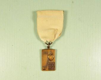 1939 Heart of America Music Festival Pin - White Ribbon Award Medal Green KC